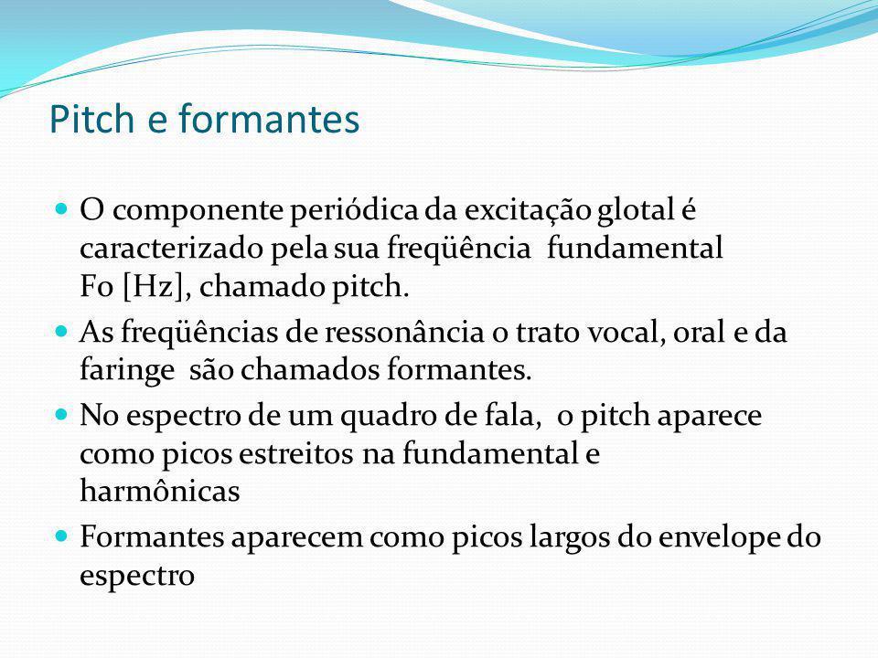 Pitch e formantes O componente periódica da excitação glotal é caracterizado pela sua freqüência fundamental F0 [Hz], chamado pitch.